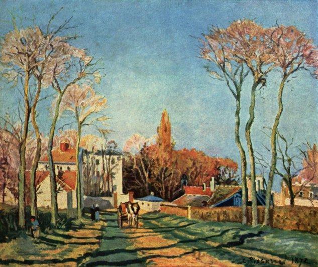 Entrada al pueblo de Voisins -  Camille Pissarro - artelista.com