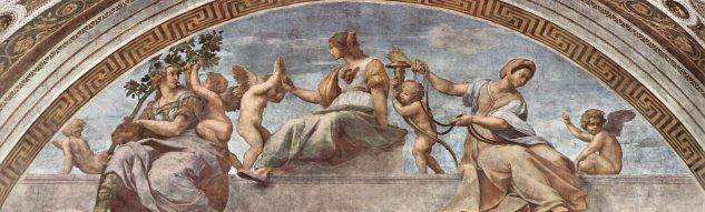 Stanza della Segnatura en el Vaticano para Julio II, fresco lunetal, escena