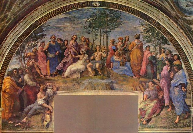 Stanza della Segnatura en el Vaticano para Julio II, fresco mural, escena