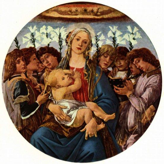 Virgen con ocho ángeles cantando (Madonna berlinesa), tondo Sandro  Botticelli