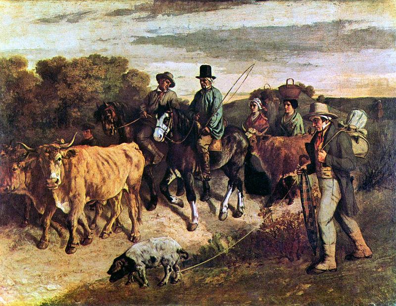 Campesinos de Flagey regresando de la feria. 1850. Gustave Courbet