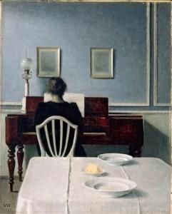 Interior con una chica en el piano. 1901. Vilhelm Hammershoi