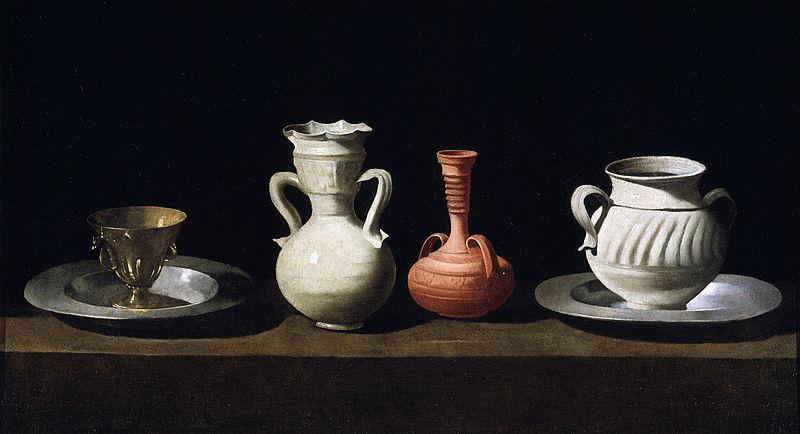 Bodegón con cacharros. Hacia 1650. Francisco de Zurbarán