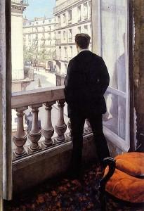 Hombre joven en el balcón. 1875. Gustave Caillebotte