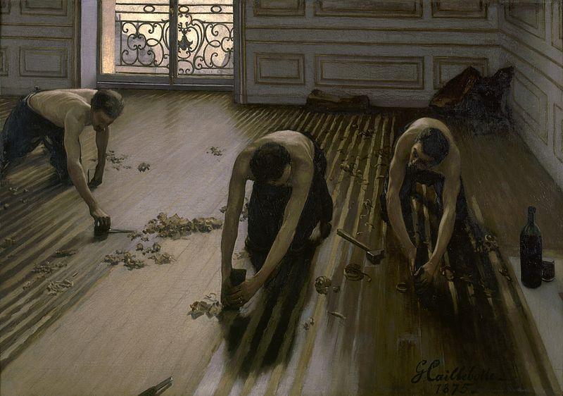 Los acuchilladores de parqué. 1875. Gustave Caillebotte