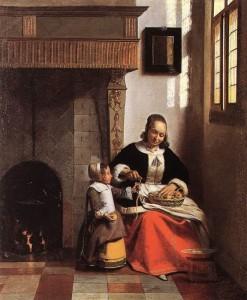 Madre e hija pelando manzanas. Hacia 1663. Pieter de Hooch