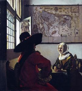 Militar y muchacha riendo. Hacia 1658. Johannes Vermeer
