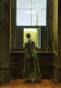 Mujer mirando por la ventana de su estudio. 1822. Caspar David  Friedrich