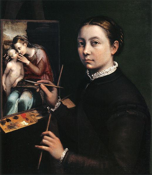 Autorretrato en el caballete. Sofonisba Anguissola. 1556
