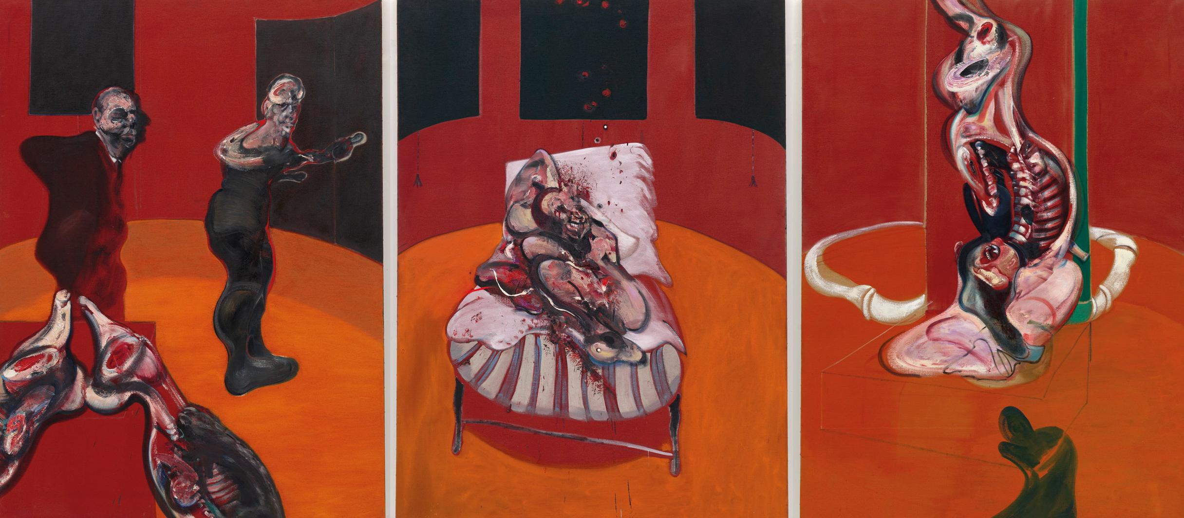 Francis Bacon Tres estudios para una crucifixión(Three Studies for a Crucifixion), marzo, 1962 Óleo con arena sobre lienzo, tres paneles 198,1 x 144,8 cm cada uno Solomon R. Guggenheim Museum, Nueva York, 64.1700 © The Estate of Francis Bacon. All rights reserved. DACS/VEGAP. Bilbao, 2015
