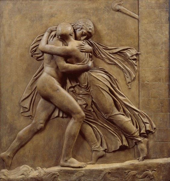 John Gibson RA, The Meeting of Hero and Leander,ca. 1842. Bequeathed by John Gibson RA, 1866. Plaster relief. 116.0 x 109.0 x 16.0 cm. © Royal Academy of Arts, London.