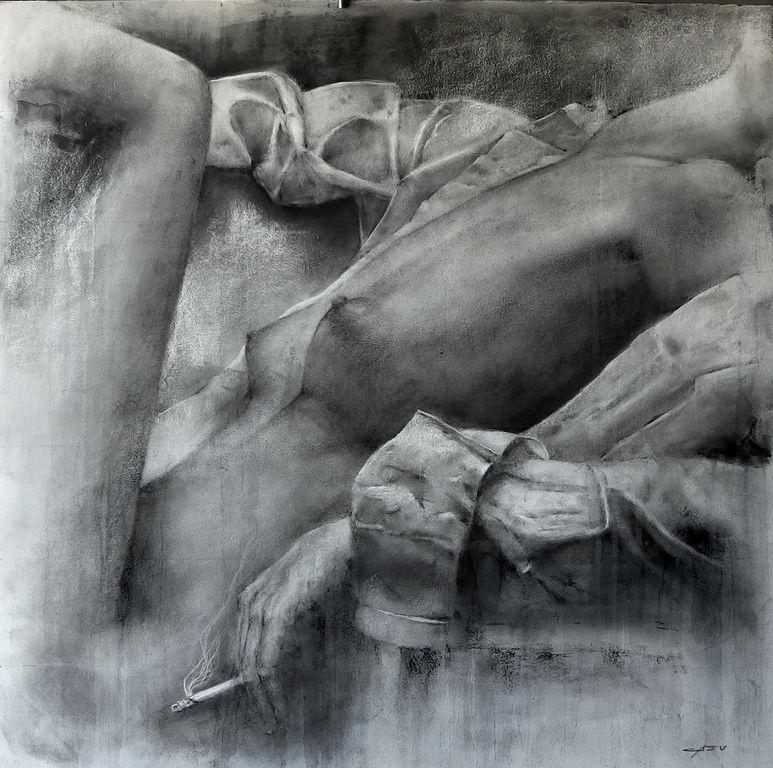 Estudio de cigarrillo con mujer, Carlos Casu.