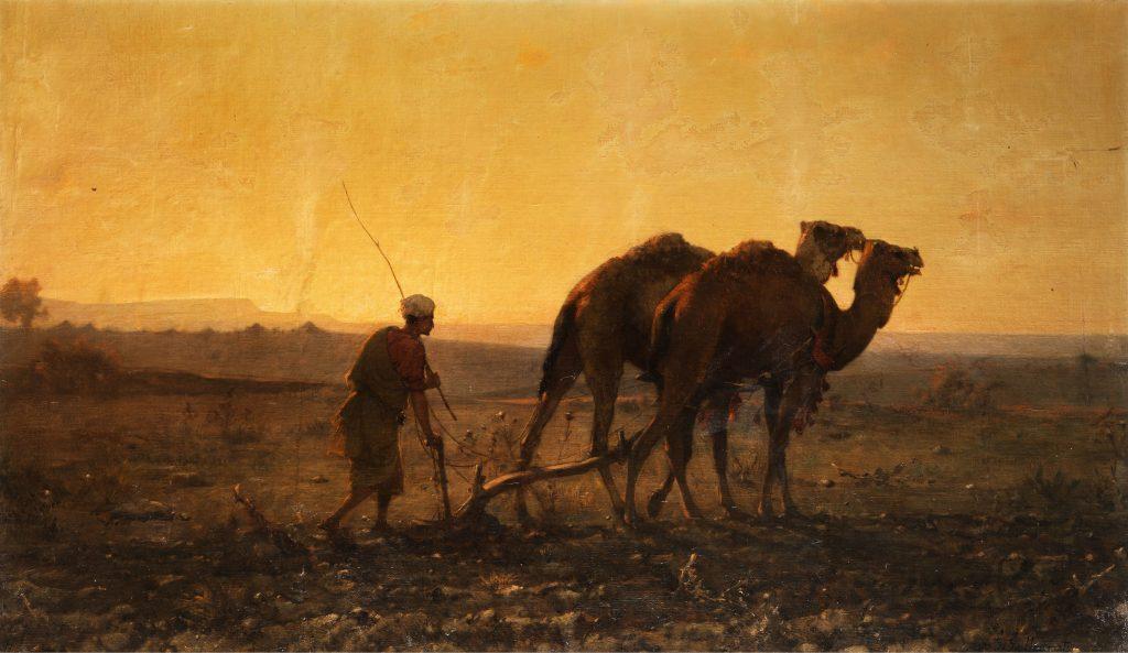 Árabe arando con camellos (1861), Gustave Guillaumet.