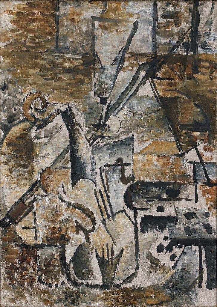 Georges Braque (Argenteuil-sur-Seine, Francia, 1882–París, 1963) Violín y arco (Violon et archet), 1911 Óleo sobre lienzo 46 x 33 cm Hermann und Margrit Rupf-Stiftung, Kunstmuseum Bern © Georges Braque, VEGAP, Bilbao, 2016.
