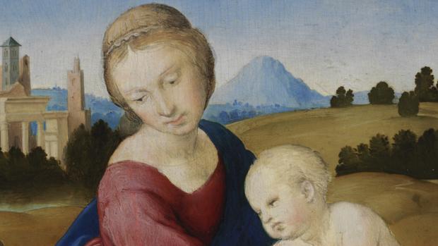 Rafael. La Virgen y el Niño con san Juan Bautista, c. 1508 Temple y óleo sobre tabla.28,5 x 21,5 cm. Budapest, Museo de Bellas Artes