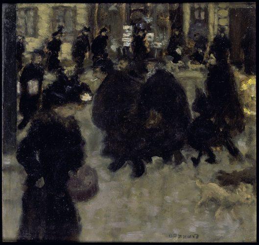 Pierre Bonnard Gente en la calle (Personnages dans la rue), ca. 1894 Óleo sobre papel fijado a tabla 24 x 25 cm. Colección particular.