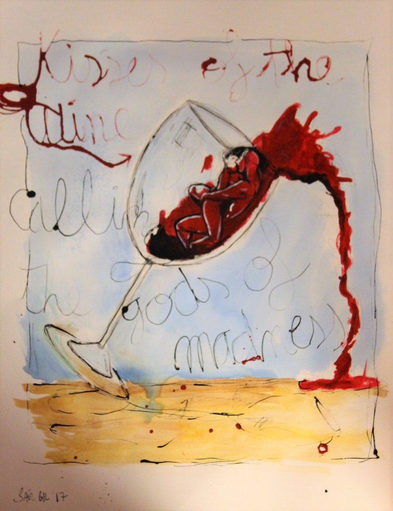 Los besos del vino llamando a los dioses de la locura, Saúl Gil Corona.