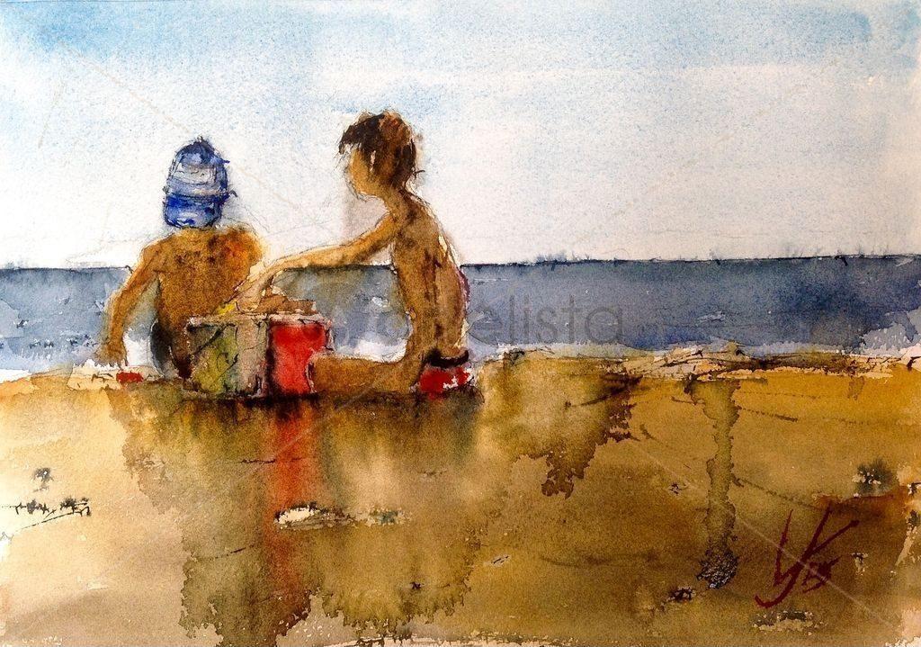 Jugando en la playa, Jacques Villares.