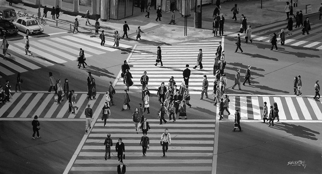 Crosswalk - Tokyo B&W #1, Sócrates Rízquez.