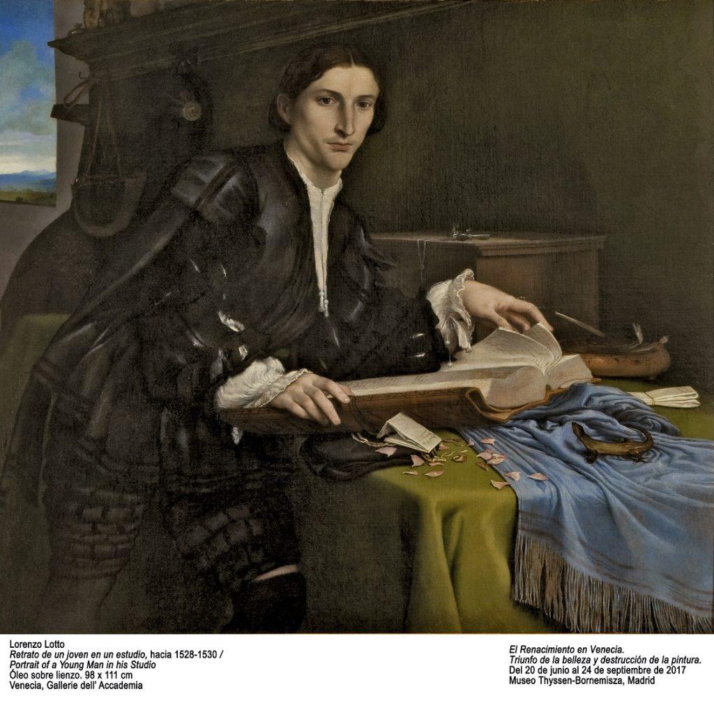 Retrato de un joven en su estudio de Lorenzo Lotto. Galería de la Academia. Venecia.