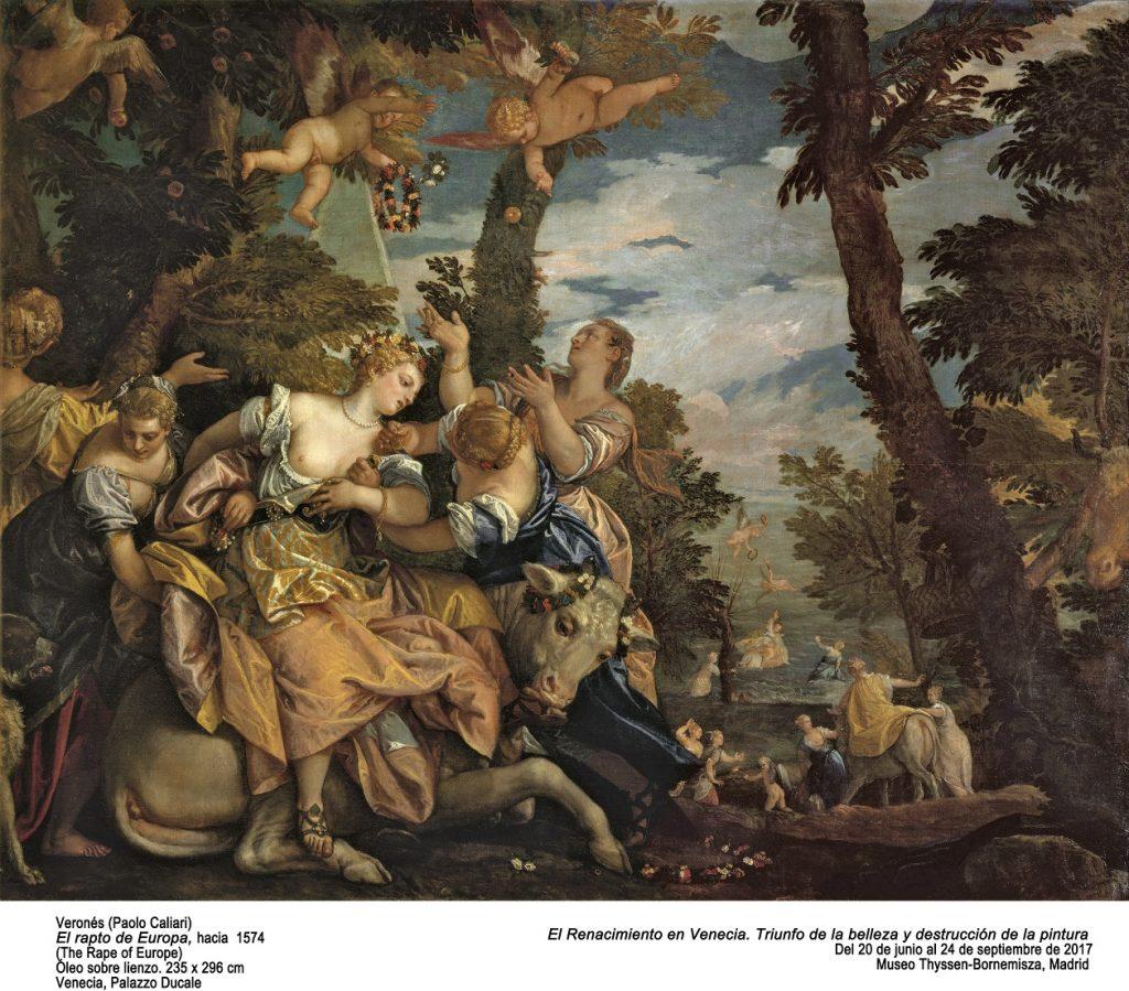 El rapto de Europa de Veronés. Óleo sobre lienzo 235 x 296 cm. Venezia. Palazzo Ducale.