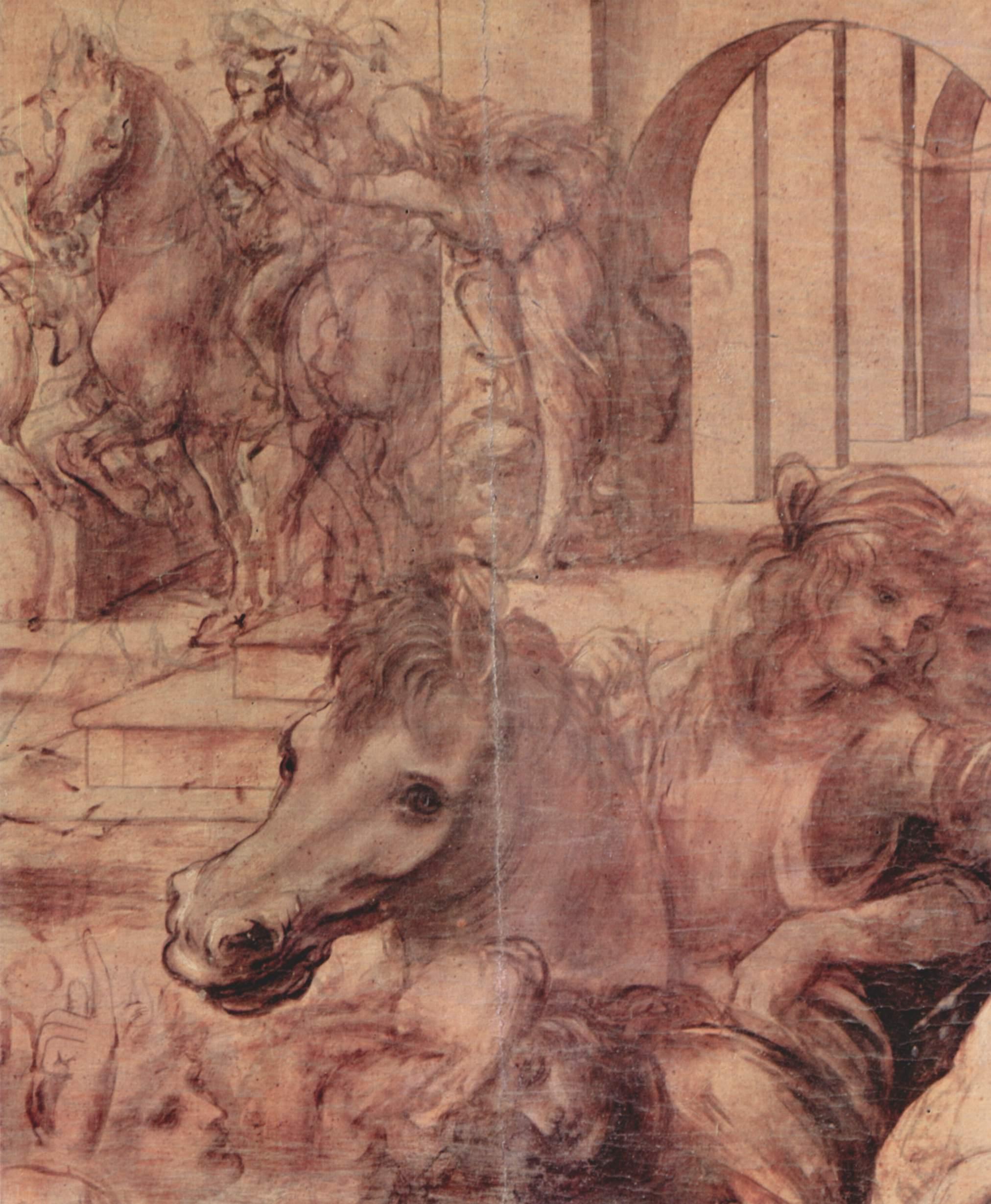 Leonardo Da Vinci Adoracion De Los Tres Reyes Magos Detalle