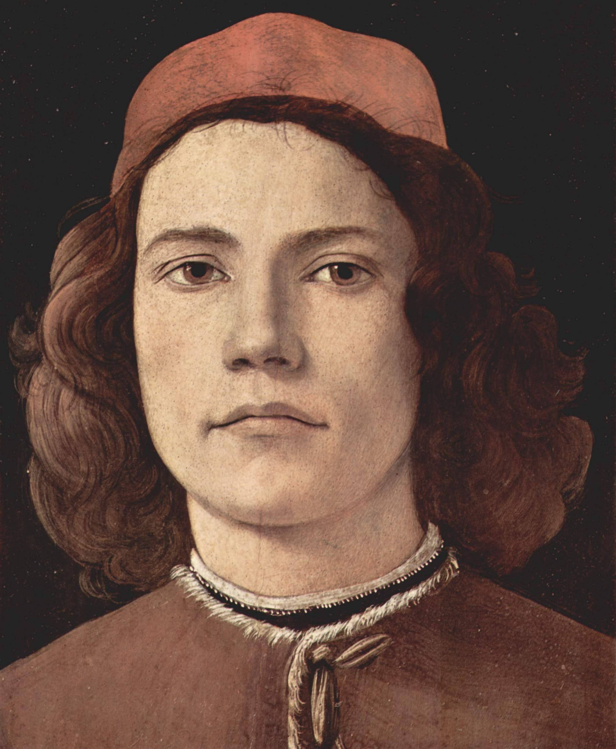 Sandro Botticelli - Retrato de un joven, detalle ...