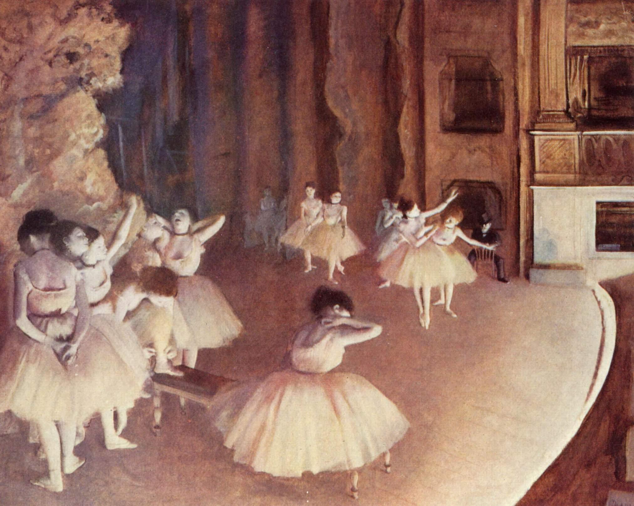 edgar degas ensayo general de ballet en el escenario. Black Bedroom Furniture Sets. Home Design Ideas