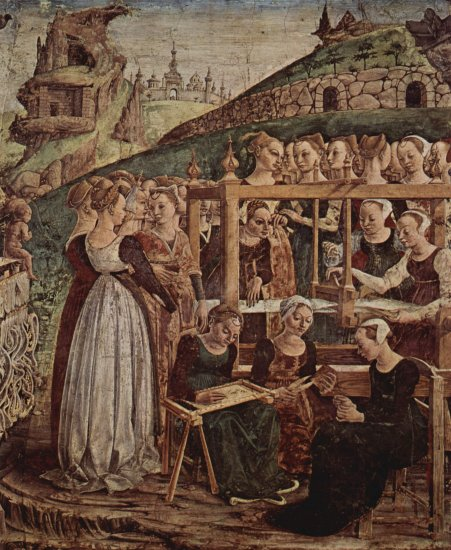 Fresken mit den Monatsdarstellungen März, April, Mai im Palazzo Schifanoia, Szene