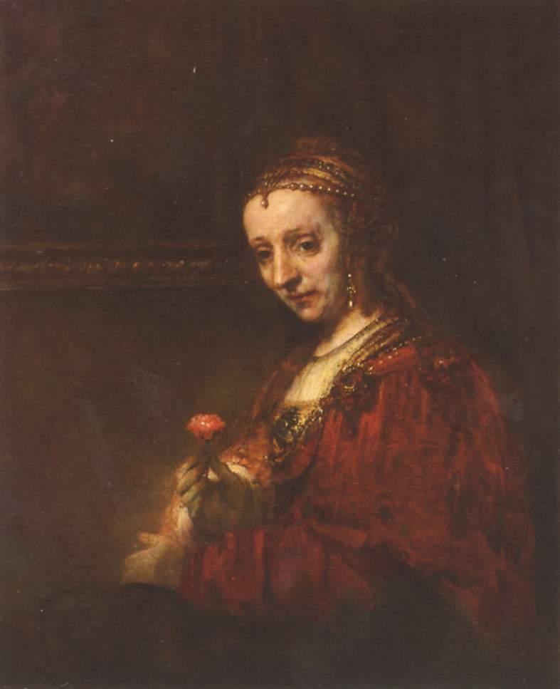 Resultado de imagen de retrato de dama con un clavel en la mano rembrandt